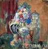 Vases and Flowers. Art print on canvas