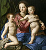 Bronzino Agniolo. Madonna and Child with the Infant St. John the Baptist. Art print on canvas
