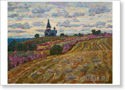 Chetverikov Albert . Kizhi -- Before the Rain. Art print on canvas