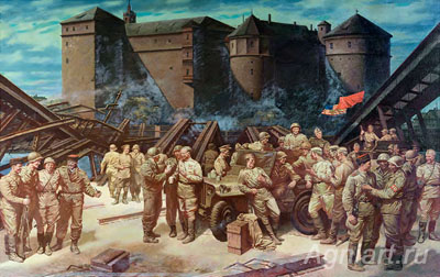 Sytov Alexander. Meeting on the Elbe 25 April 1945 in the city of Torgau. Art print on canvas
