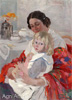 Goriushkin-Sorokopudov Ivan. Mother with a Child. Art print on canvas