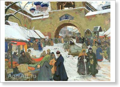 Goriushkin-Sorokopudov Ivan. Market Day in the Old Town. Art print on canvas