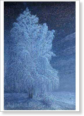 Meshcherin Nikolay. Frosty night. Art print on canvas