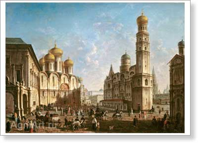 Alexeyev Fyodor. Cathedral Square in Moscow Kremlin. Art print on canvas