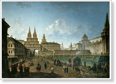 Alexeyev Fyodor. View of the Voskresenskiye and Nikolskiye Gates and the Neglinny Bridge from Tverskaya Street in Moscow. Art print on canvas