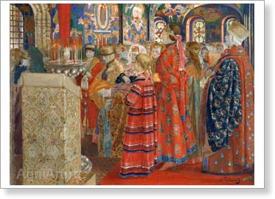 Ryabushkin Andrey. 17th-century Russian Women in a Church. Art print on canvas