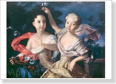 Caravaque Louis. Princesses Anna Petrovna and Yelizaveta Petrovna. Art print on canvas