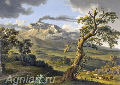 Haсkert Jaсob Philipp. View of Etna. Art print on canvas - paintings, sale of paintings