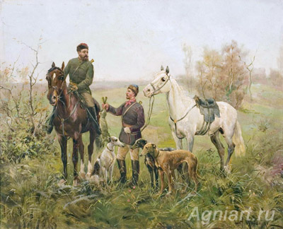 Kivshenko A. Hunting for hares. Art print on canvas