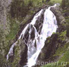 Photo-landscapes: Nature. Altai. Waterfall on the Kok-Kol River. Fine art postcard 10x10 cm
