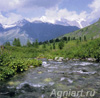 Photo-landscapes: Nature. Altai. The Kok-Kol River. View of Mount Belukha. Fine art postcard 10x10 cm