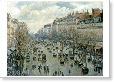 Pissarro Camille. Boulevard Montmartre in Paris. Art print on canvas.