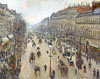 Pissarro Camille. Boulevard Montmartre, morning, cloudy weather. Art print on canvas.