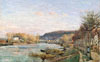 Pissarro Camille. The Seine at Bougival. Art print on canvas