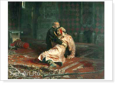 Repin Ilya. Ivan the Terrible and his Son Ivan on 16 November 1581. Art print on canvas