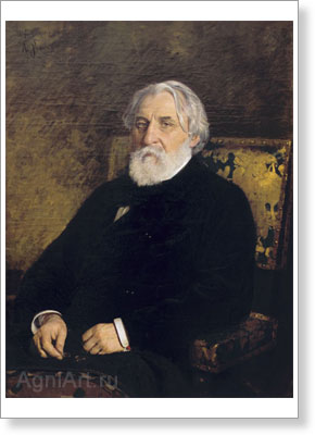 Repin Ilya. Writer Ivan Turgenev. Art print on canvas