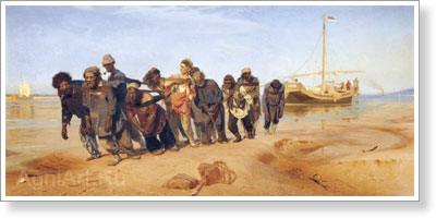 Repin Ilya. Volga Bargemen. Art print on canvas
