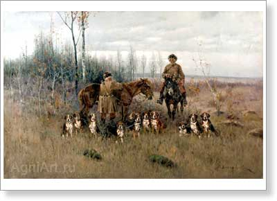 Voroshilov Sergey. Hunting with Hounds. Fine art postcard A6