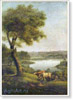 Landscape with Cows. Art print on canvas