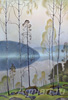 Smirnov-Rusetsky Boris.  Birches. Evening mist. Fine art postcard A6