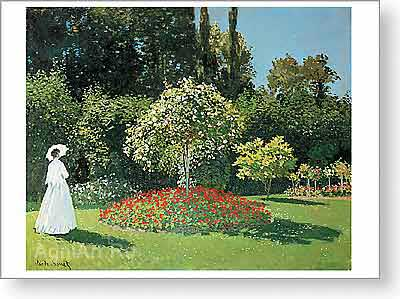 Monet Claude Oscar. Lady in the Garden (Sainte-Adresse). Fine art print A2