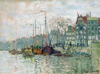 Monet Claude Oscar. View of the Prins Hendrikkade and the Kromme Waal in Amsterdam. Art print on canvas.