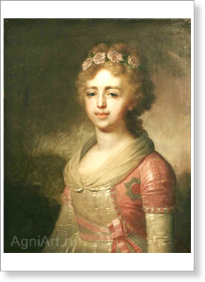 Borovikovsky Vladimir. Grand Duchess Aleksandra Pavlovna. Art print on canvas