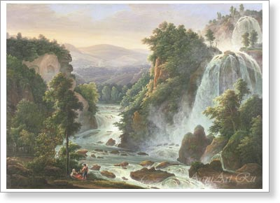 Matveyev Fyodor. Waterfalls in Tivoli. Art print on canvas