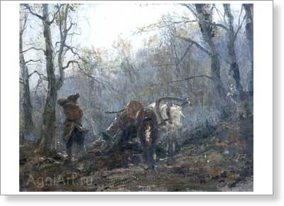 Savitsky, Konstantin. Autumn in the Forest -- Vexation of a Peasant. Art print on canvas