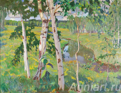 Rylov Arkady. Landscape with a River. Art print on canvas