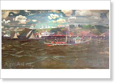 Rylov Arkady. Celebration on the Water. Art print on canvas
