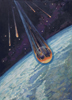 Leonov Alexey. REENTRY OF HTE VOSTOK SPACECRAFT. Fine art postcard A6