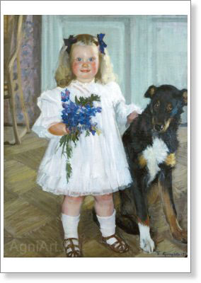 Kustodiyev Boris. Irina Kustodiyeva with the Dog Shumka. Fine art postcard A6