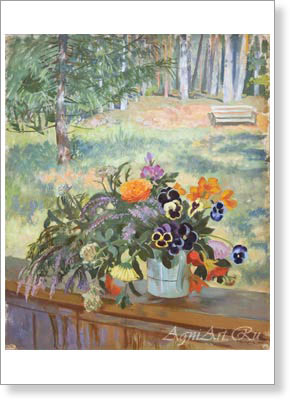 Kustodiyev Boris. Flowers. Art print on canvas