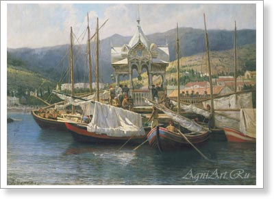 Miasoyedov Grigory. Pier in Yalta. Art print on canvas