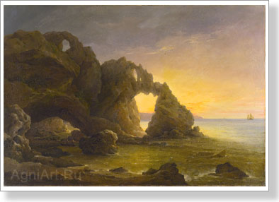Chernetsov Nikanor. Grotto on seacoast. Art print on canvas