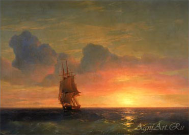 Aivazovsky Ivan. Sunset - Salitary Sailing Ship. Art prints on a stretcher