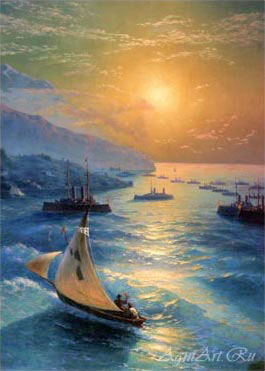 Aivazovsky Ivan. Ships at the Feodosiya Roadstead. Art prints on a stretcher
