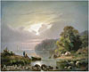 Ginet Alexandre. Landscape with Fishermen.  Art print on canvas
