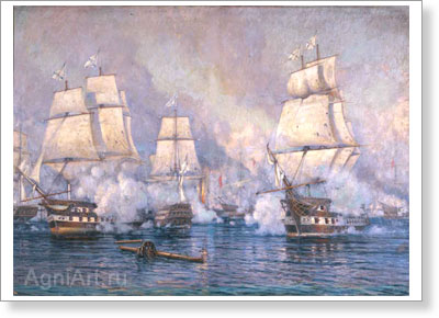 Tkachenko Mikhail. Battle of Navarino. Art print on canvas