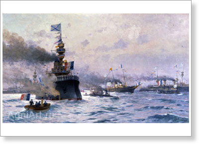 "Tkachenko Mikhail. Arrival of the Imperial Yacht ""Standart"" at the French Port. Art print on canvas"