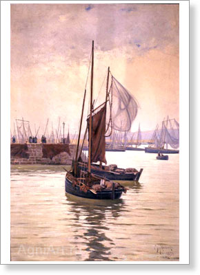 Tkachenko Mikhail. Fishing Boats at the Port of Douarnenez (Brittany). Art print on canvas