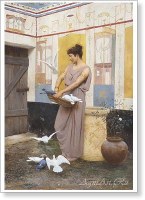 Bakalovich Stepan. Triptych. With Doves. The central part. Fine art print A3