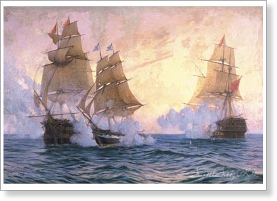 "Tkachenko Mikhail. Battle of Brig ""Mercury"" with Turkish Ships on 14 May 1829. Fine art postcard A6"