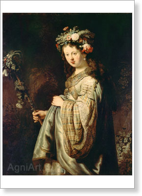 Rembrandt Harmensz van Rijn. Flora. Art print on canvas