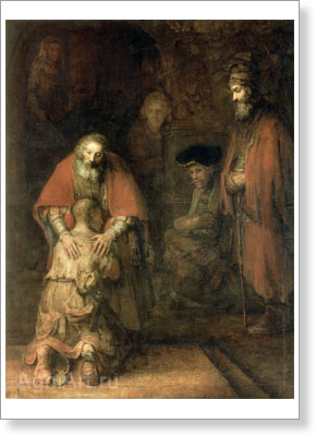 Rembrandt Harmensz van Rijn. The Return of the Prodigal Son. Fine art postcard A6