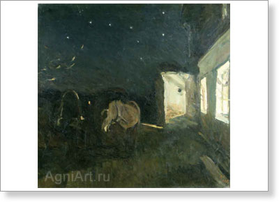 Serov Valentin. Autumn Night. Art print on canvas