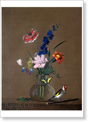 The Tretyakov Gallery. Tolstoy Fyodor. Bunch of Flowers, Butterfly and Bird. Art print on canvas