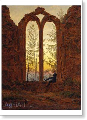 Friedrich Caspar David. Ruins of the Oybin Monastery (The Dreamer). Art print on canvas