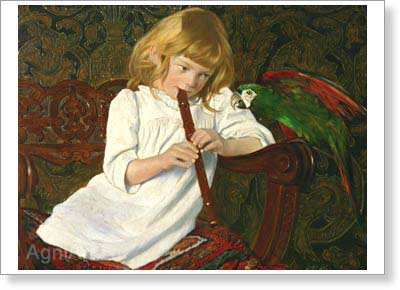 Sakin K. Girl with a Parrot. Art print on canvas - paintings, sale